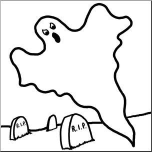 304x304 Clip Art Ghost In Cemetery Bampw I Abcteach
