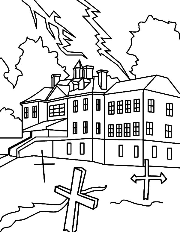 600x775 Haunted House With Cemetery Coloring Pages Coloring Sun