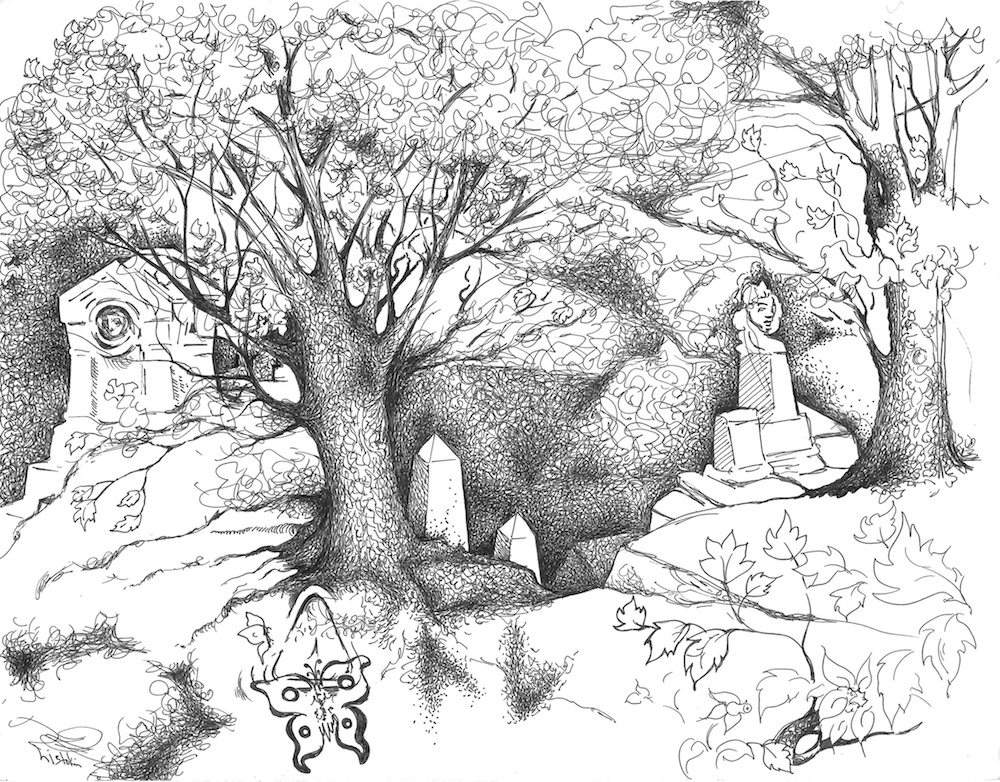 1000x782 Image Result For Ink Drawing Of Greenwood Cemetery Greenwood