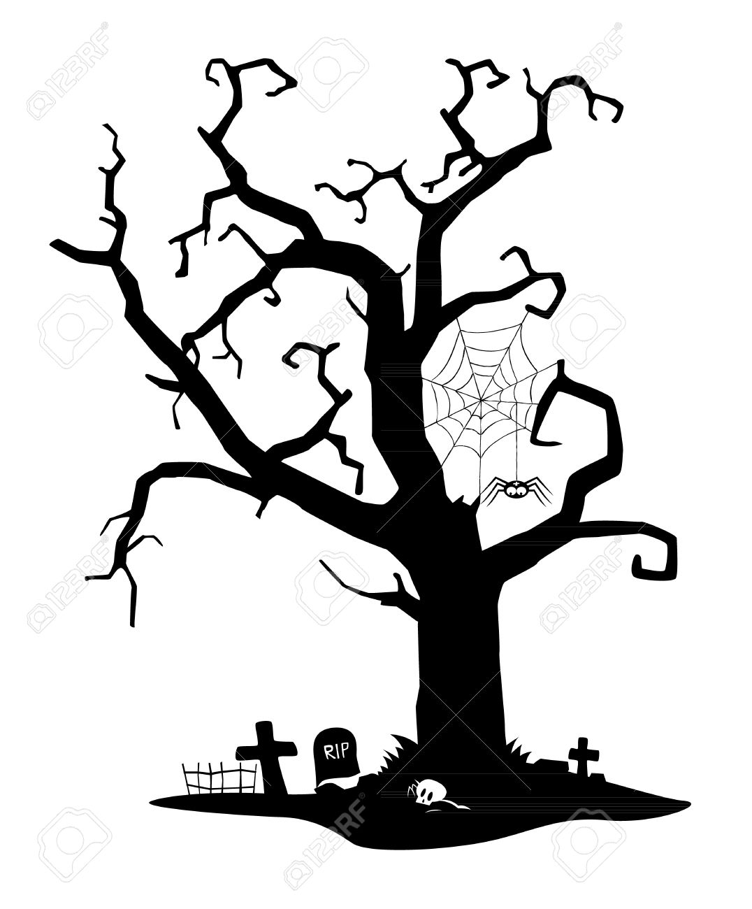 1076x1300 Spooky Black Silhouette Of Tree Near Cemetery Royalty Free