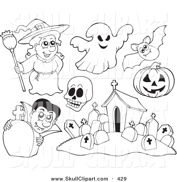 600x620 Vector Clip Art Of A Digital Set Of Halloween Coloring Page