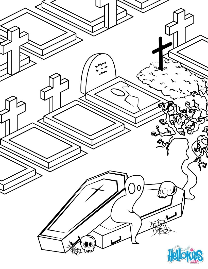 820x1060 Cemetery Spooks Coloring Pages