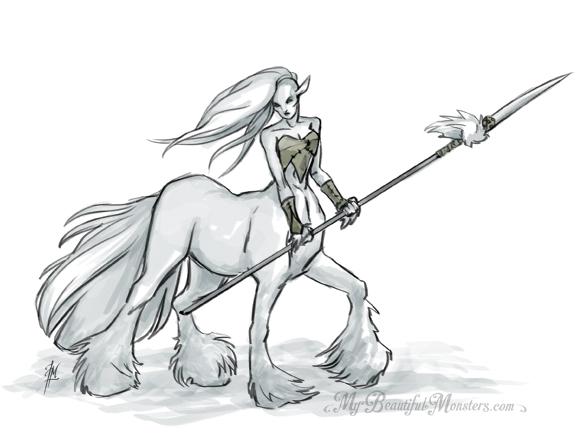 581x437 Female Centaur Warrior By Mybeautifulmonsters