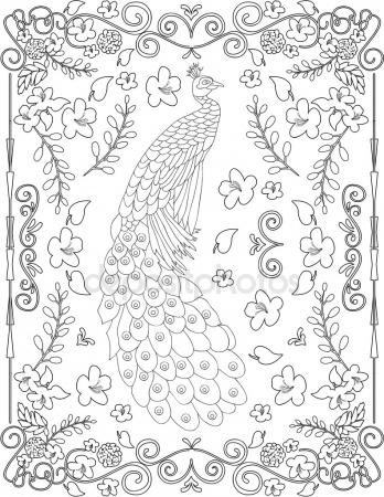 348x450 Hand Drawing Decorative Tile Frame. Classical Floral Ornament