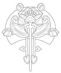 236x281 Redrawn Design. Ceramic Tile, Art Nouveau. Art Nouveau Stencils