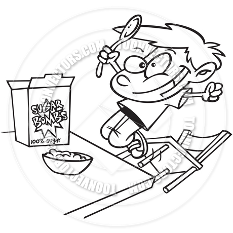 460x460 Cartoon Boy Eating Cereal (Black And White Line Art) By Ron