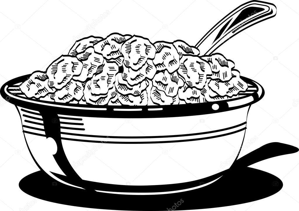 1023x723 Cereal Bowl With Milk And Spoon. Stock Vector Clipartguy