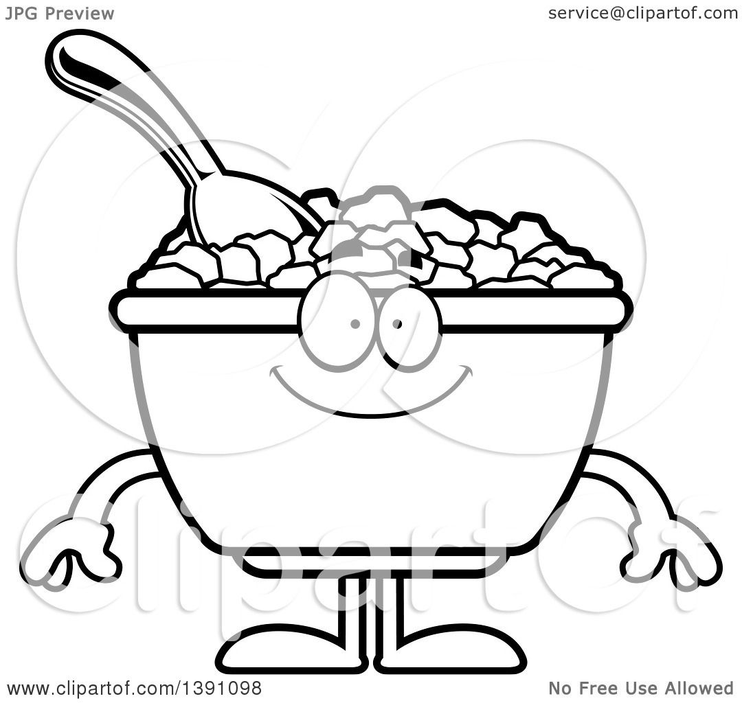 1080x1024 Clipart Of A Cartoon Black And White Lineart Happy Bowl Of Corn