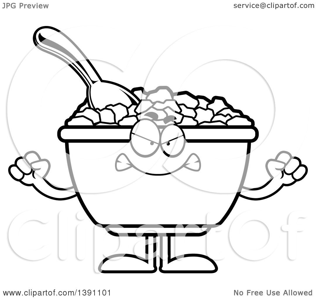 1080x1024 Clipart Of A Cartoon Black And White Lineart Mad Bowl Of Corn