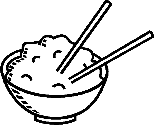 600x486 Rice Bowl Black And White Clip Art
