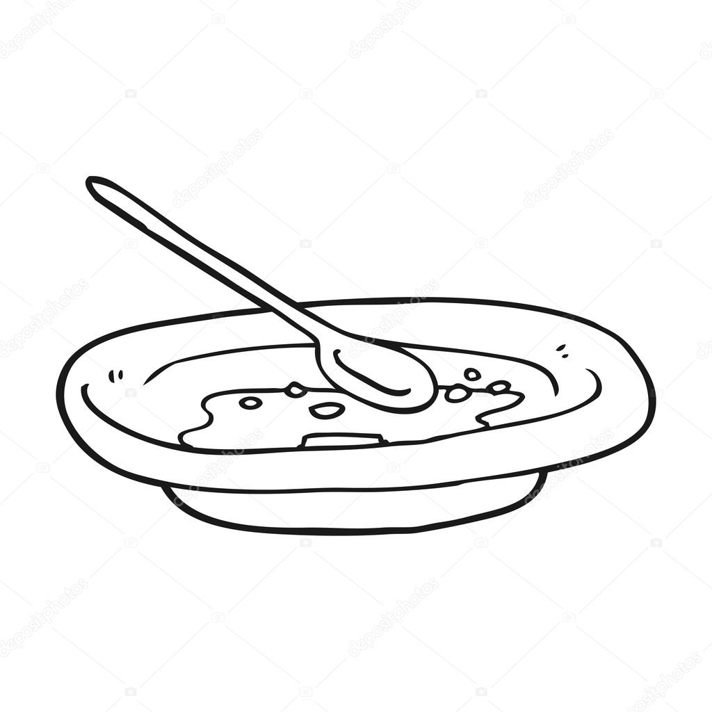 1024x1024 Black And White Cartoon Empty Cereal Bowl Stock Vector