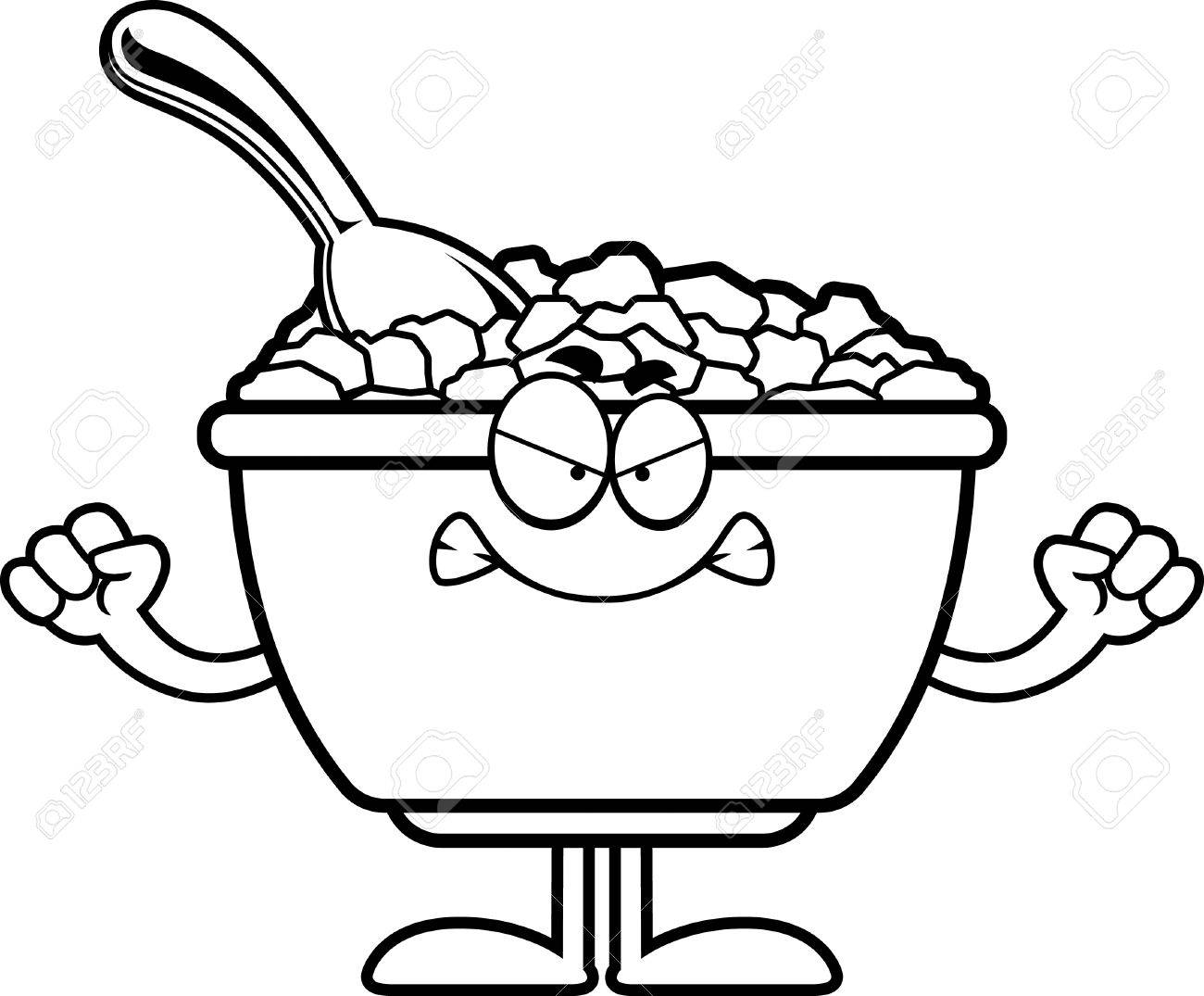 1300x1075 A Cartoon Illustration Of A Bowl Of Cereal Looking Angry. Royalty