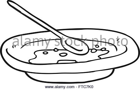 450x290 Bowl Of Cereal Line Drawing Stock Vector Art Amp Illustration