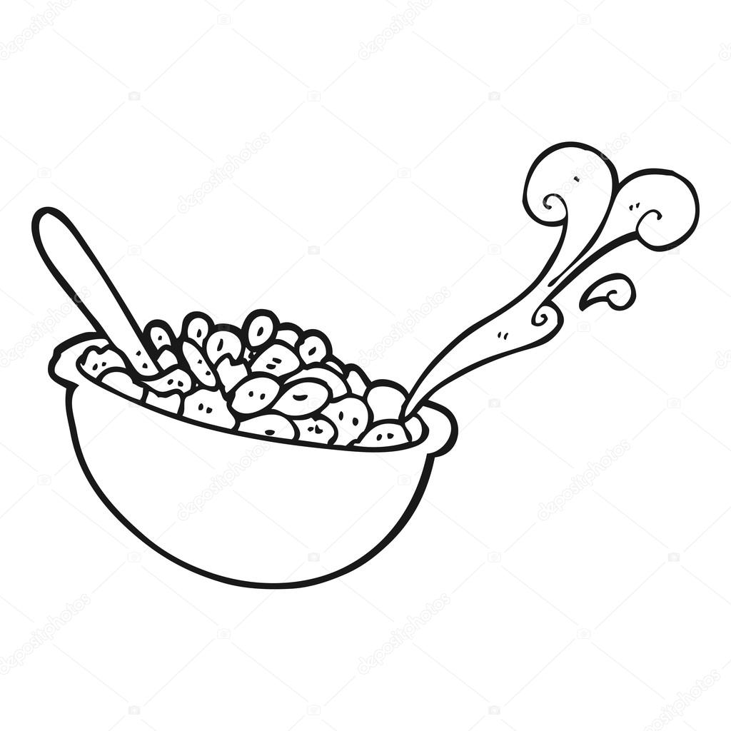 1024x1024 Black And White Cartoon Bowl Of Cereal Stock Vector