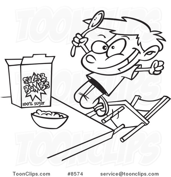 581x600 Cartoon Black And White Line Drawing Of A Boy Eating Sugary Cereal