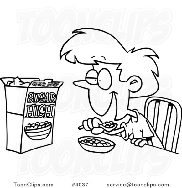 581x600 Cartoon Black And White Line Drawing Of A Girl Eating Sugary