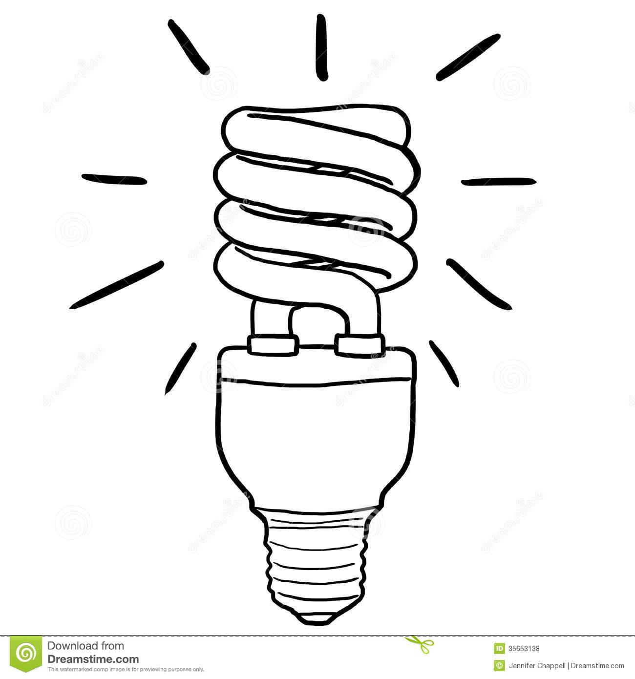 1300x1390 Drawn Lamp Cfl Bulb