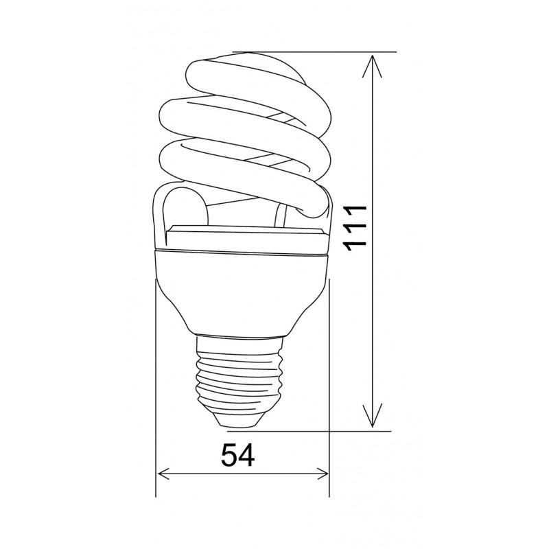 800x800 Energy Saving Compact Fluorescent Lamp T3, 9w, 2700k, E27,