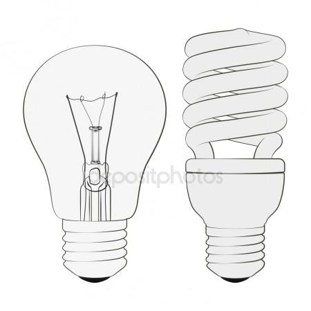 450x450 Set Of Transparent, Opaque, Glowing And Energy Saving Light Bulb