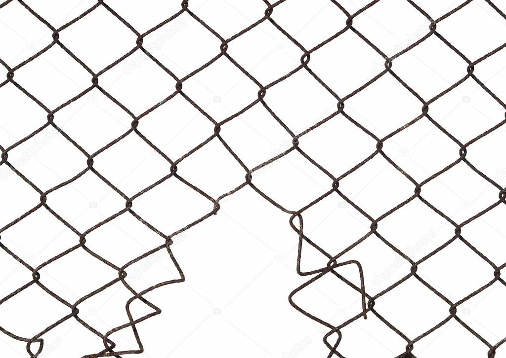 1024x726 Metal Wire Fence Protection With Hole Isolated On White