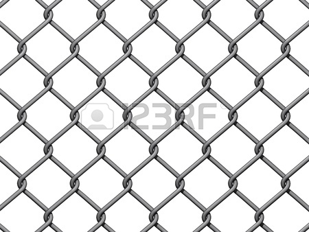 450x338 Chain Link Fence Background On White Background. Stock Photo