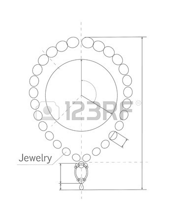 360x450 Jewelry Production Sketch Isolated On White. Jewelry Designer