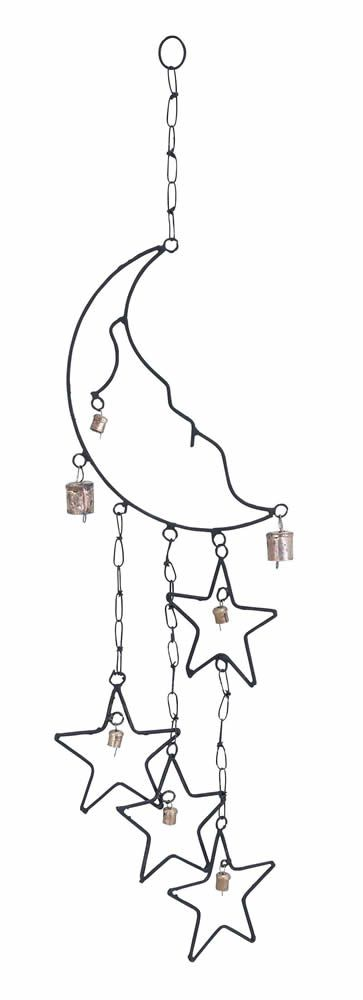 363x1000 Metal Moon Star Wind Chime With Chain Link Wind Chimes