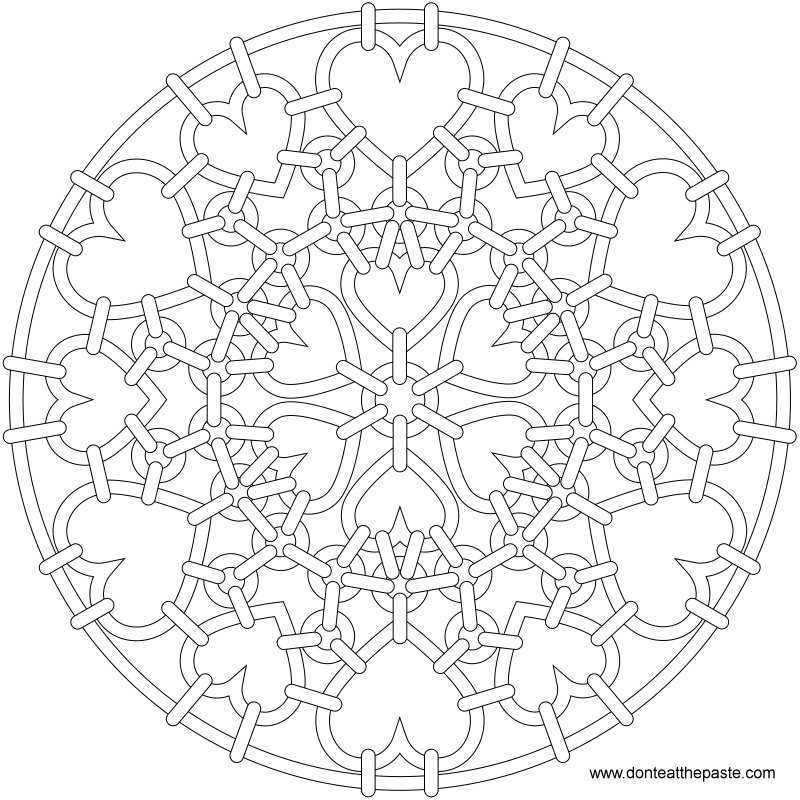 800x800 Heart Chainmail Mandala To Color. Also Available In Transparent