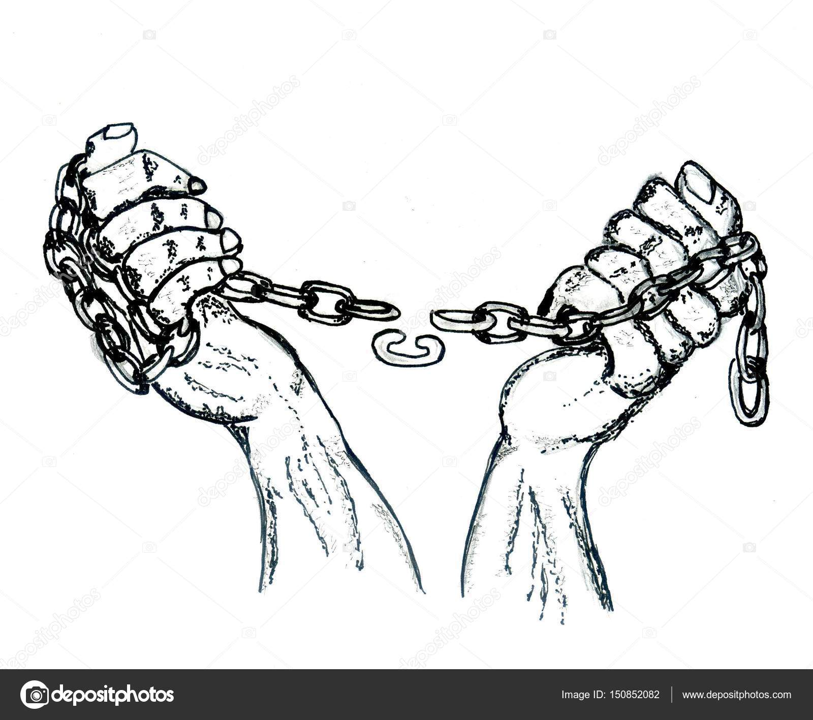 1600x1417 Hands In Chains Sketch Stock Photo Artshock