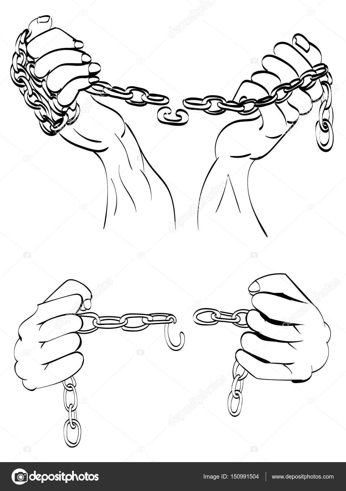 1200x1700 Hands In Chains Stock Vector Artshock