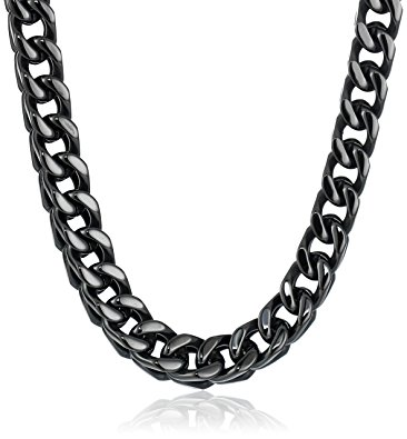 366x395 Men's Black Tone Stainless Steel 6mm Wheat Chain Necklace, 22