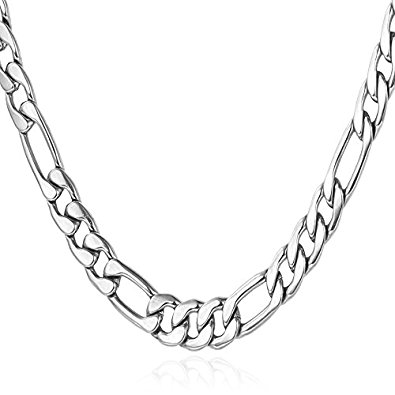 395x395 Men's Stainless Steel Italian Solid Figaro Chain Necklace