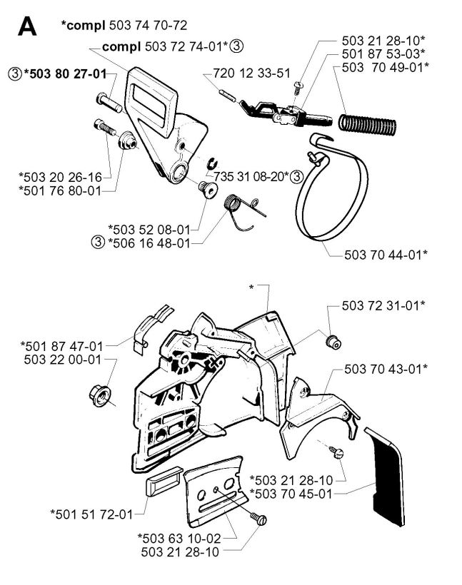 647x820 Husqvarna 257 (2001 09) Chainsaw Chain Brake Spare Parts Diagram
