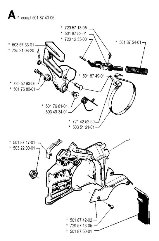 544x820 Husqvarna 262 Xp (1990 03) Chainsaw Chain Brake Spare Parts Diagram