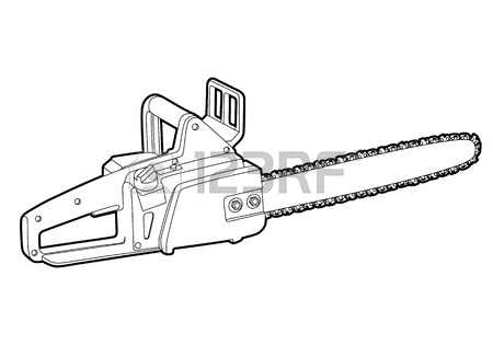 450x315 Outline Chainsaw On White Background Royalty Free Cliparts