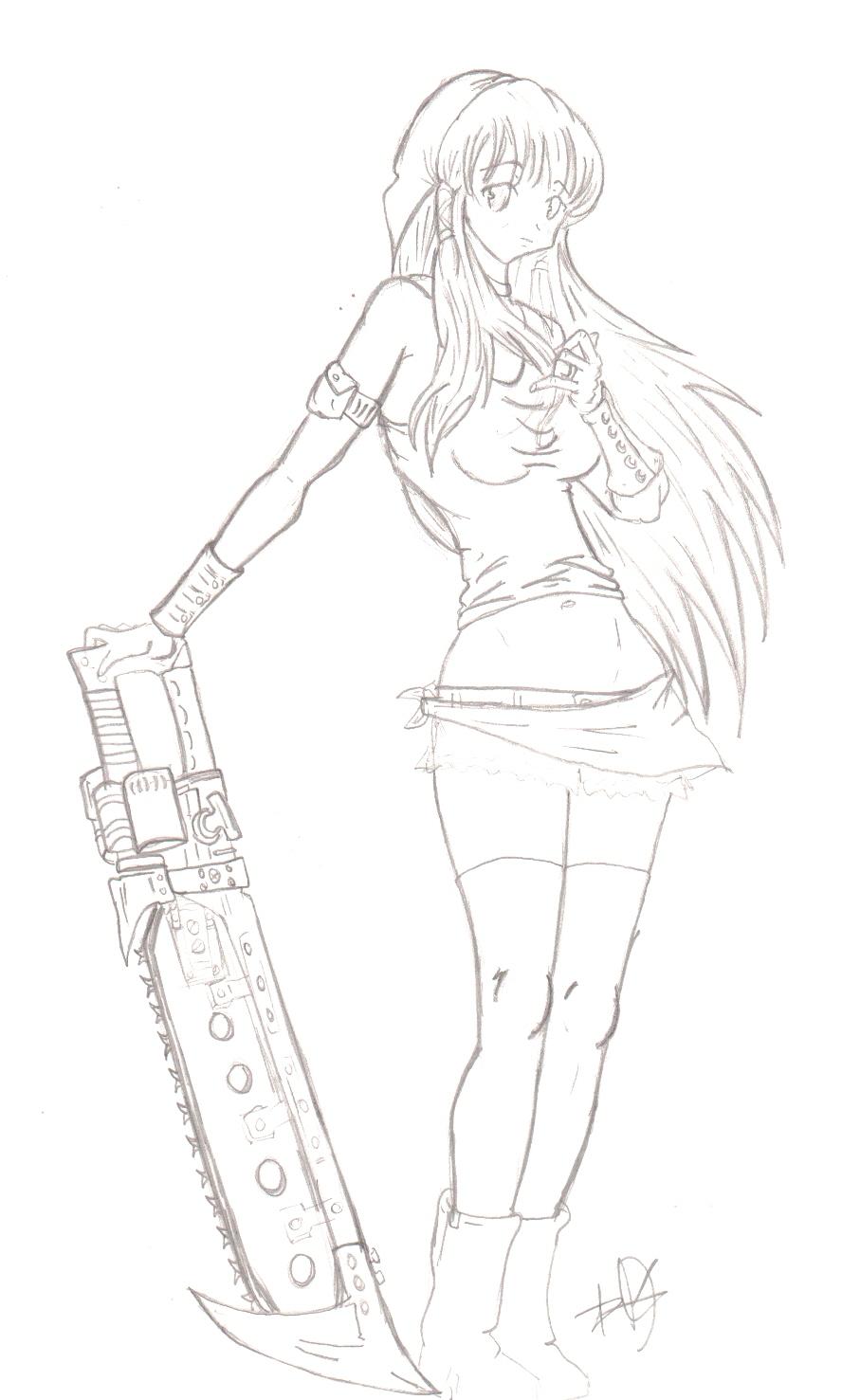 chains girl anime drawing