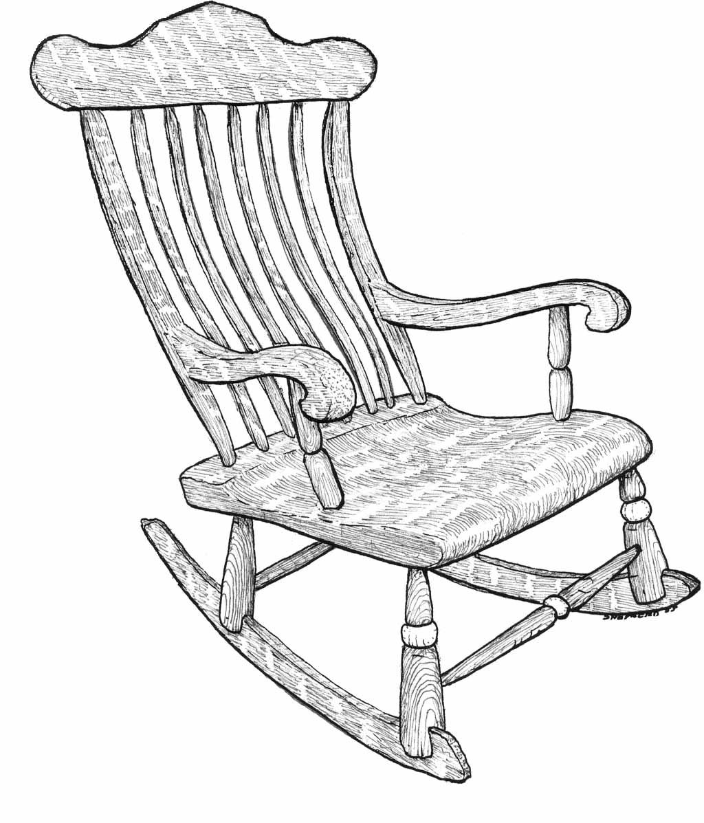 1024x1197 Exellent Rocking Chair Drawing Hand Of Old Wooden For Design