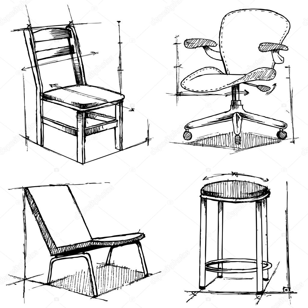 1024x1024 Chairs Drawings Stock Vector Bogalo