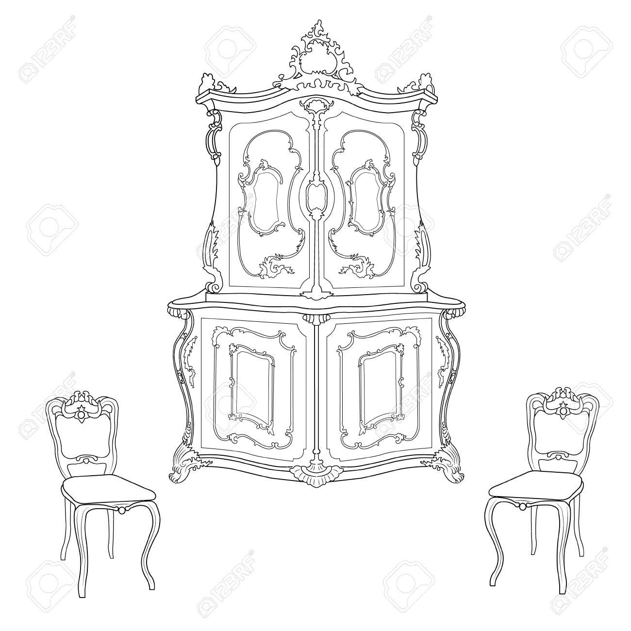1300x1300 Drawing Cabinet And Two Chairs In The Baroque Style Royalty Free