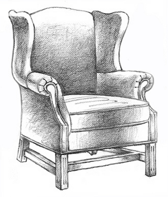 comfy chair drawing. Modren Comfy 330x385 606 Chippendale Wing Chair With Comfy Drawing F