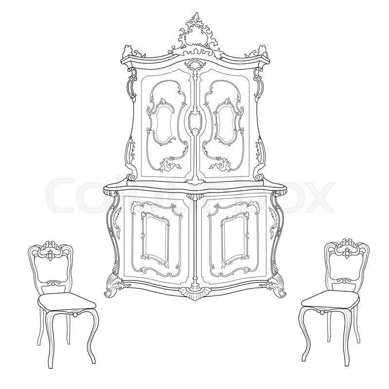 800x800 Drawing Cabinet And Two Chairs In The Baroque Style Stock Vector