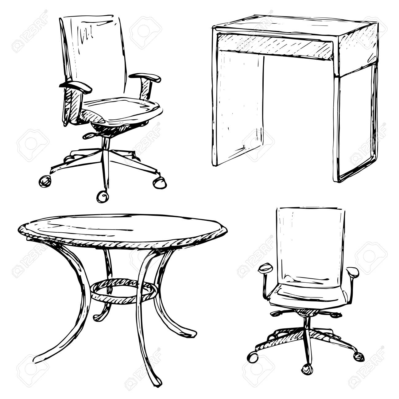 1300x1300 Sketch Set Isolated Furniture. Different Chairs And Table. Linear