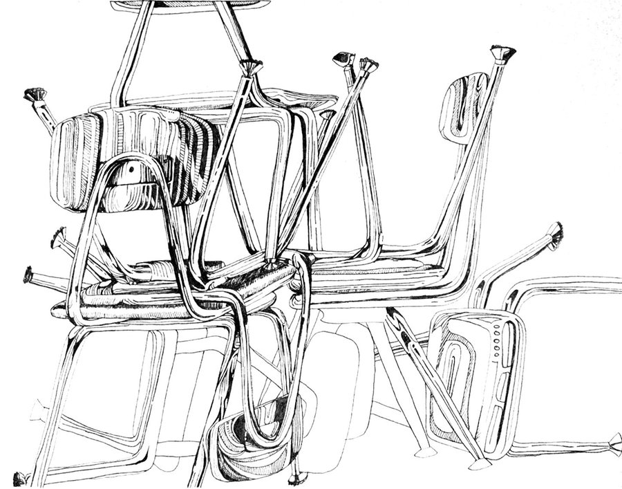 900x707 Still Life Of Chairs By Corelila