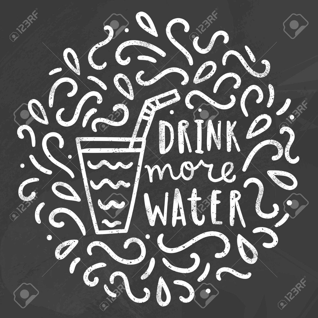 1300x1300 Drink More Water. Chalk Doodles. Vector Hand Drawn Illustration