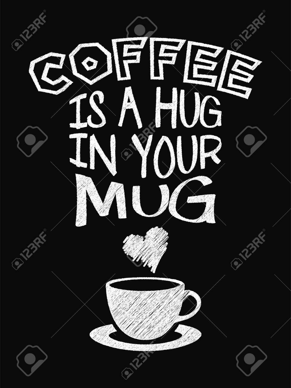 975x1300 Quote Coffee Poster. Coffee Is A Hug In Your Mug. Chalk