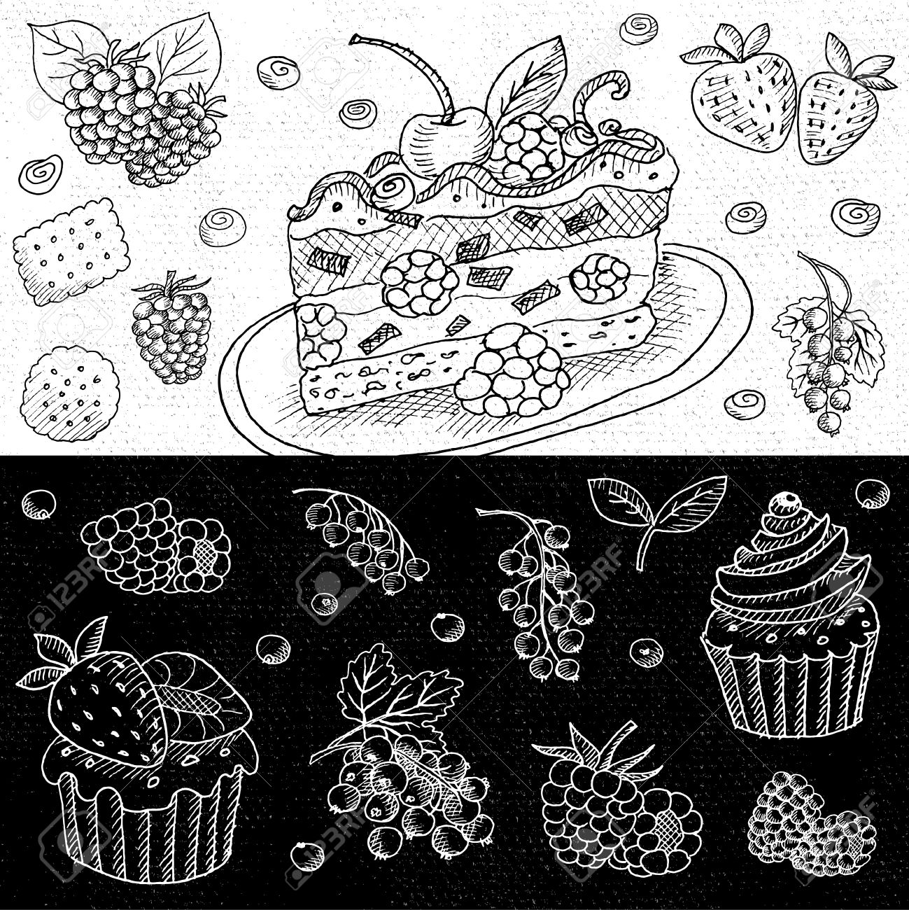 1299x1300 Set Of Chalk Hand Drawn, In Sketch Style, Food And Spices, Black