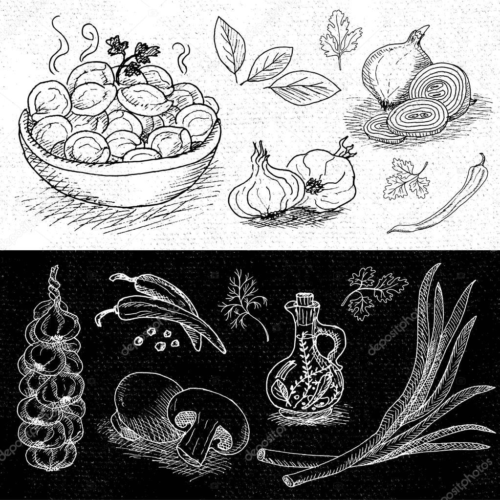 1023x1023 Set Of Chalk Drawn On A Blackboard Food, Spices. Stock Vector