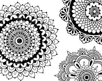 340x270 Chalk Flowers Clip Art Graphics In White, Hand Drawn And High