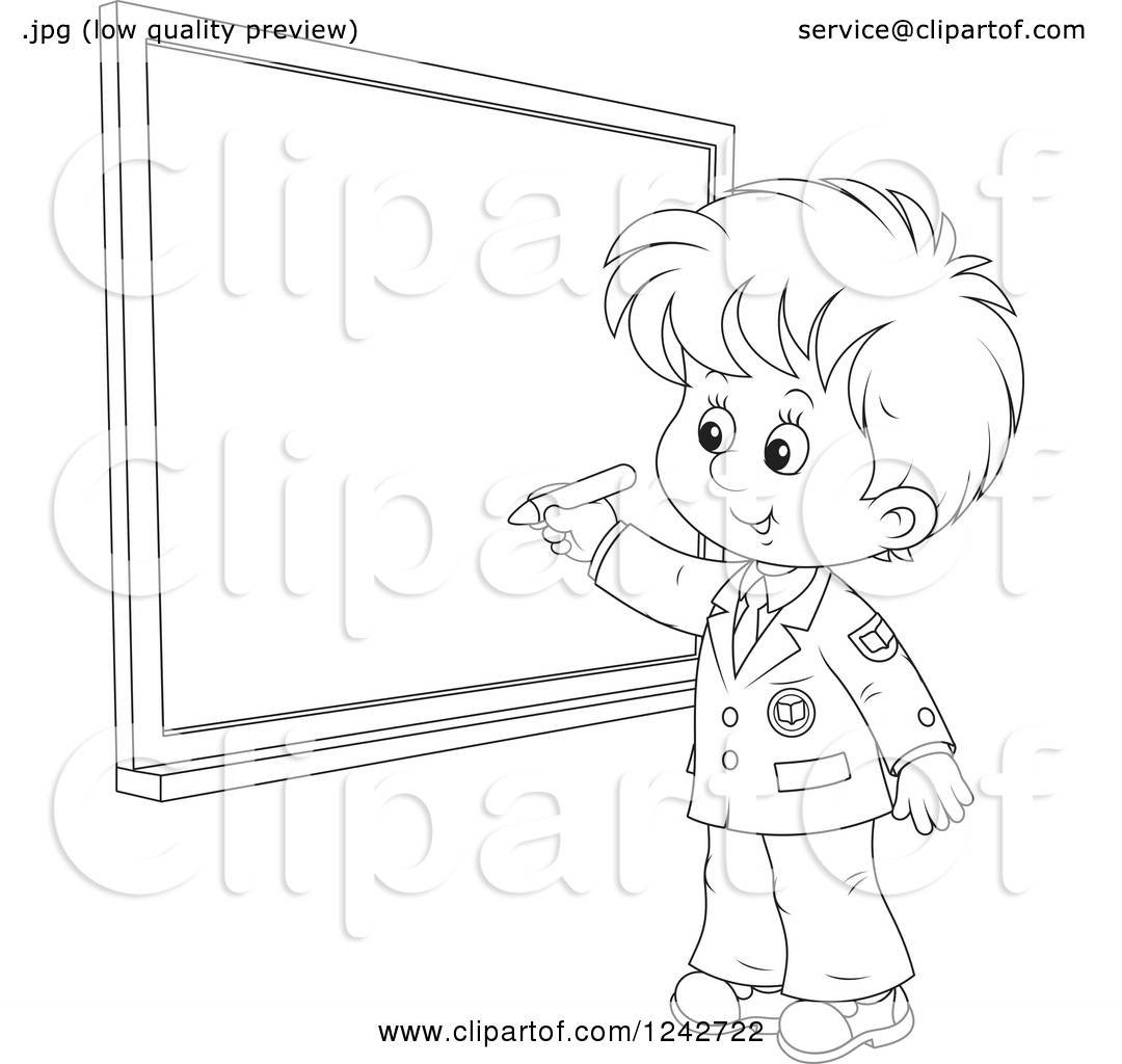 1080x1024 Clipart Of A Black And White School Boy Writing On A Grid
