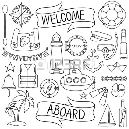 450x450 Doodle Hand Drawn Nautical Decor Set Chalk Board Effect Graphic